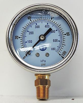 NEW Pressure Gauge Liquid Filled 0 -100 psi 650 kpa Air Water Guage Gage AIP