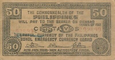 Currency Japan Philippines Emergency 1942 WWII Note 50 Fifty Centavos Circulated