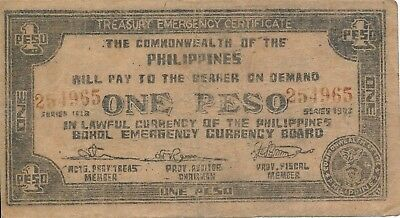 Currency Japan Philippines Emergency 1942 WWII Note 01 One Pesos Circulated