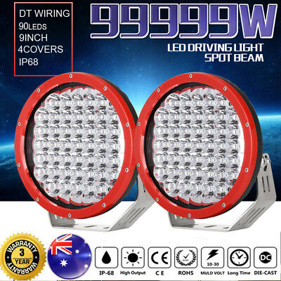 Pair 9 inch 99999W CREE LED Driving Lights Spot Round Red Spotlights 4x4OffRoad
