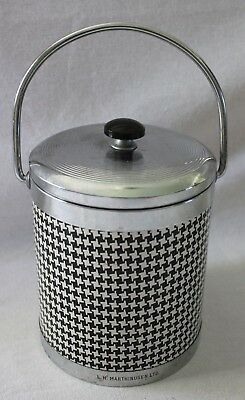 VINTAGE 1960s Black White Houndstooth Silvertone Metal Ice Bucket w Tongs