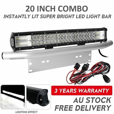"20 inch Tri-row LED Light Bar + Silver 23"" Number Plate Frame Mount Bracket 4X4"
