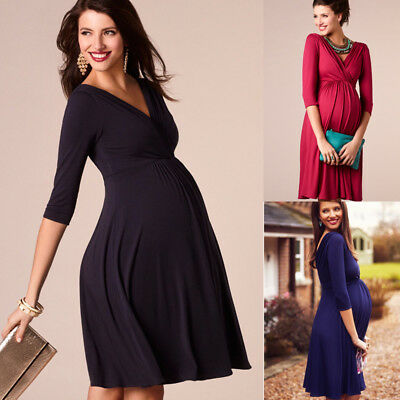 US Pregnant Women  Long Maxi Dresses V Neck Maternity Gown Photography Clothes