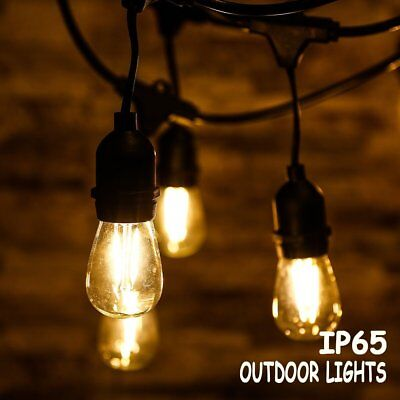 Globe String Lights Bulbs 48FT LED Outdoor Waterproof Commercial Grade Patio VX