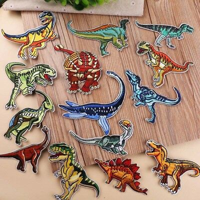 Dinosaur Embroidery Patch Iron On Sew Badge Clothes Fabric Applique Craft DIY