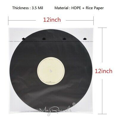 20PCS HDPE+Rice Paper 3.5 Mil Anti-static Inner Sleeves For 12'' LP Vinyl Record