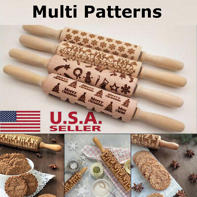 Christmas Cookies Cake Baking Rolling Pin Wooden Xmas Tree Embossing Roller US