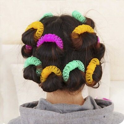 8Pcs Magic Hairdress Bendy Hair Styling Roller Curler Spiral Curls Tool #dj8