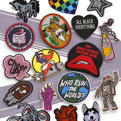 Embroidered Sew On Iron On Patch Badge Fabric DIY Craft Clothes Shirts Transfer