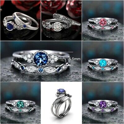 Fashion Couples Finger Ring Set Wedding 925 Silver Green Emerald Jewelry Gifts