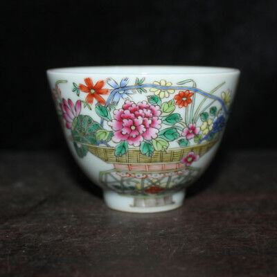 Chinese Old Marked Famille Rose Colored Flowers Pattern Porcelain Cup