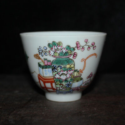Chinese Old Marked Famille Rose Colored Curio Flowers Pattern Porcelain Cup