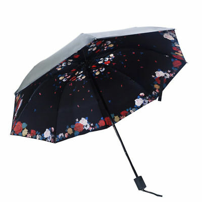 Colorful Anti-UV Sun/Rain Umbrella Parasols Protection Windproof Flower 3Folding