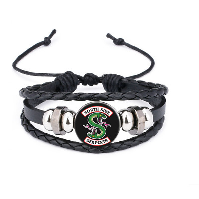 Riverdale South Side Serpents Genuine Leather Glass Multilayer Bracelet Bead New