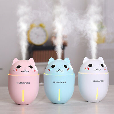3 in 1 320ml Air Humidifier Cool Mist LED USB Fan Cute Cat Mini Humidifier