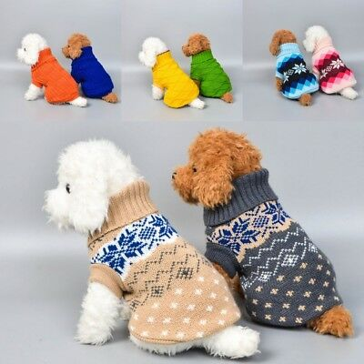 UK Dog Pet Cat Warm Jumper knitted Sweater Clothes Knitwear Costume Coat Apparel