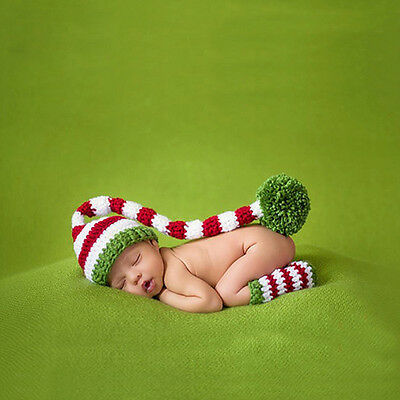 Newborn Baby Kids Unisex Photography Props Crochet Knitted Striped Hat Outfits