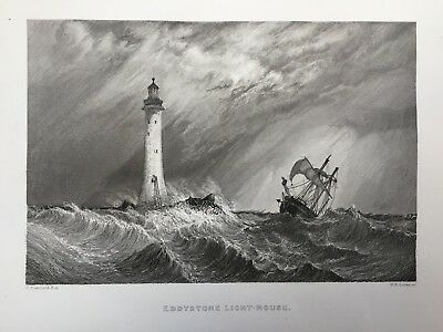 1836 Antique Print; Smeaton's Eddystone Lighthouse (now in Plymouth) - Stanfield