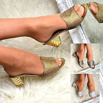 Womens Diamante Mules Block Mid Heel Slip on Shoes Open Toe Embellished Size 3-8