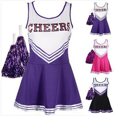 CHEERLEADER FANCY DRESS OUTFIT HIGH SCHOOL MUSICAL UNIFORM COSTUME + POM POMS Ku