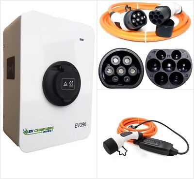 22kw Electric Car EV Charge Point + Two Type 2 Cables, 32a, 3-phase Charger