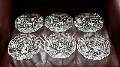 Vintage  set of 6 glass clear bubble 4 footed bowl w/ scalloped rim