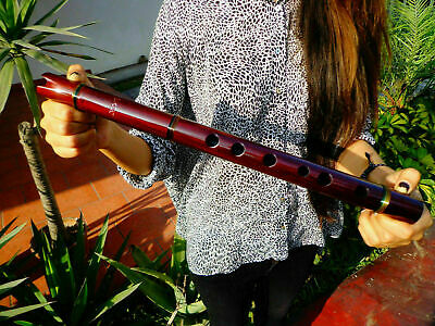 NATIVE AMERICAN STYLE FLUTE SOLID MAHOGANY (G) & EMBROIDERED BAG Reg-$225 NEW