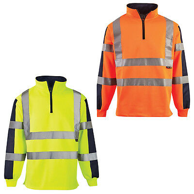 Hi Vis 2 Tone Rugby Shirt High Visibility Sweatshirt Workwear Safety Jumper Top