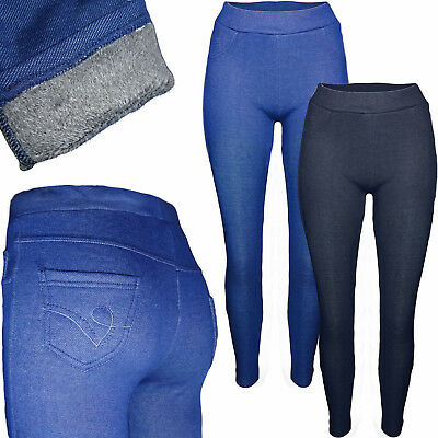 mit Fell Warm Winter Leggings Thermo Jeanslook Hose Leggins Treggings