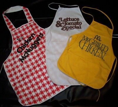 McDonalds Vtg Employee Aprons Uniforms Try Chicken McNuggets McGrilled Chicken