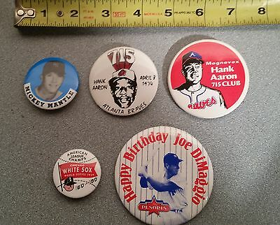Lot of 5 Vintage Hank Aaron Mickey Mantle White Sox Braves Yankees Buttons Pin