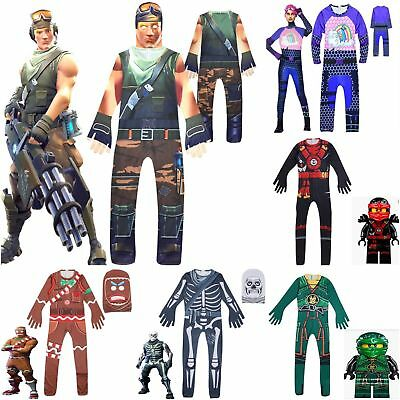 Fortnite Halloween Karneval Kostum Jumpsuit Cosplay Costume Kinder