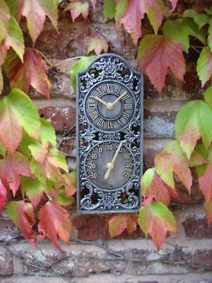 Outdoor indoor Garden Wall Clock thermometer 12 inch Pewter colour ds1094