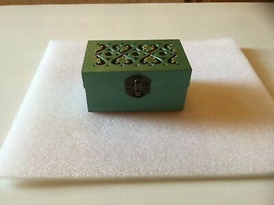 Painted small rectangular wooden box with gems