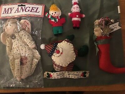 Christmas Ornament Lot of 5, Gingham Angel, 2 Santa's, Stocking & Boy W/ Bell