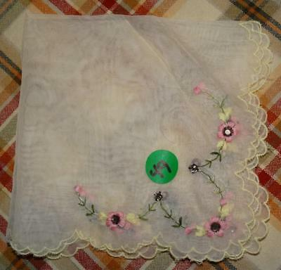 Vintage light yellow embroidered Flowers & Rhinestones hanky handkerchief #49