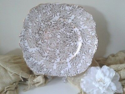 White square plate with gold flowers pattern, English bone China decor plate