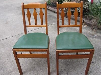 Pair of Vintage Stakmore Wooden Folding Chairs Green Seats Excellent