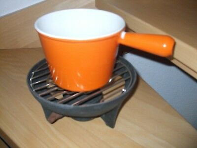 Le Creuset Gusseisen Fondue orange TOP Zustand Made in France