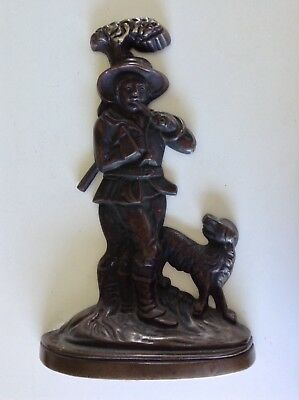 English Bronze Plated over Cast Brass Woodsman & Canine Dog Doorstop Rare 1840