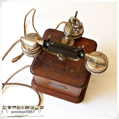 Kurbeltelefon HOLZ Telefon ASSOCIATION COMBINE BL Mod. 1910 Paris Telephone