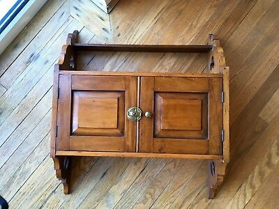 Antique Arts And Crafts Oak Hanging Wall Cupboard Bathroom Dining Kitchen