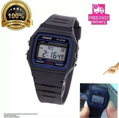 NEW CONDITION GENUINE  Casio F-91W-1YER  Stopwatch Alarm Classic Black Watch