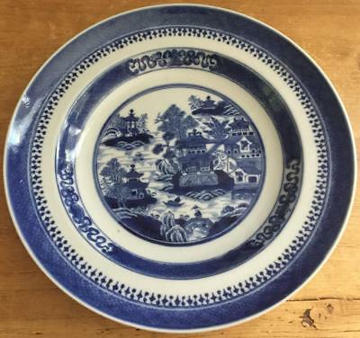 "Antique 19C Canton Ware Chinese Export Asian Blue &White Soup Bowl 9.75"" VG Cond"