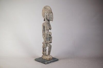 """Hand Carved Dogon Maternity African Statue/Figure from Mali with Base - 23"""""""