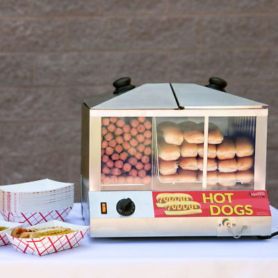 Hot Dog Steamer Commercial HotDog Cooker Bun Warmer Concession Vending Cart