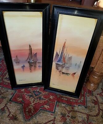 pair of  antique signed french  paintings in ebonised frames