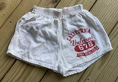 Vintage 50s California Vulcans Champion Runner Tag Gym Shorts Phys Ed Medium