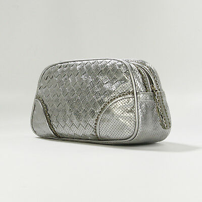 Authentic Bottega Veneta Perforated Leather Cosmetic Case Metallic Silver 9f9c0960ab42a