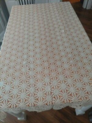 """Vintage Hand Made Crochet Lace Tablecloth ~  Large 76"""" X 57"""" ~ Beige"""